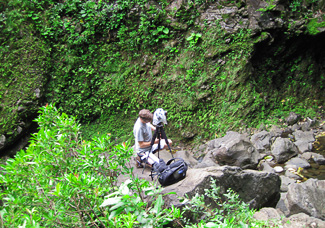 Carl photographing Wailua Falls. Photo by Bev Amoth