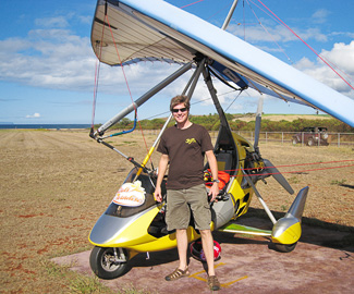 Carl after his ultralight aircraft flight. Photo by Gene Monnier.