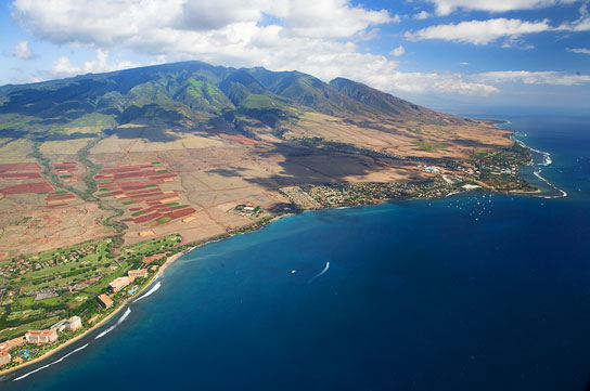Arial of Lahaina - where we are staying.  - Photo © Carl Amoth