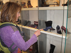 Bev transfixed by beautiful shoes