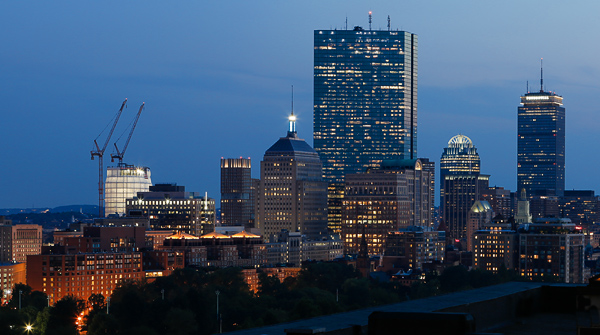 Boston skyline from the top of the XV Beacon hotel