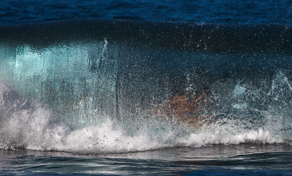 Surfer in the tube. Waipi'o Valley beach, Big Island, Hawaii. © Carl Amoth