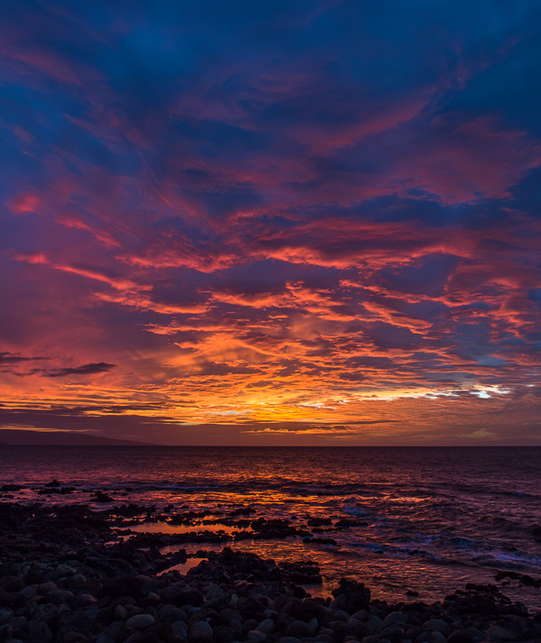 Sunset view from our lanai. Wailea Beach Marriott Resort & Spa. © Carl Amoth