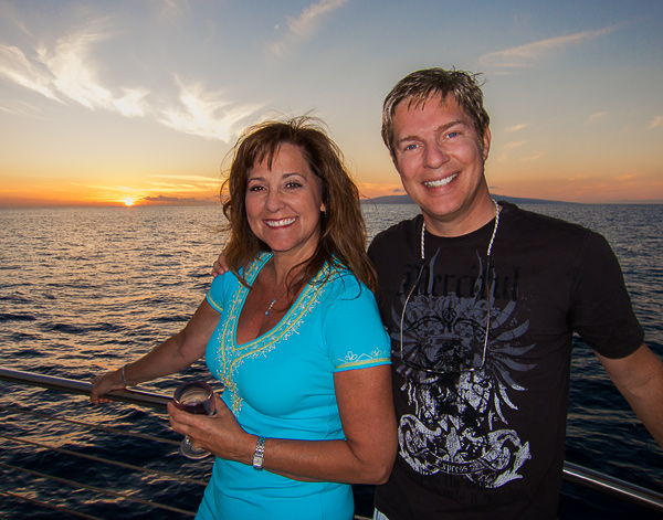 Enjoying the Maui sunset aboard the Alii Nui, a 65' sailing catamaran.